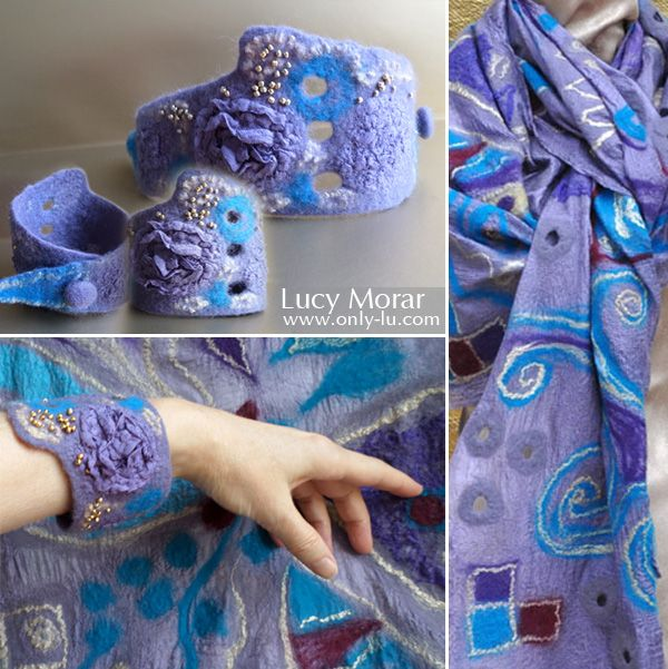 """""""The Premonition of Happiness""""  Nuno Felt Art Scarf with Matching Bracelet Lucy Morar /   www.only-lu.com"""