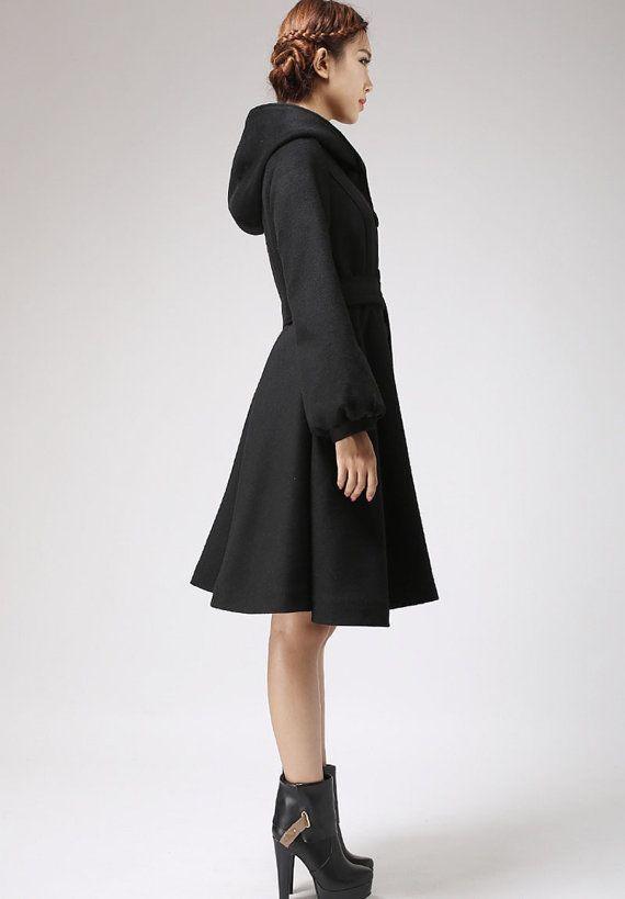Black wool coat women hooded coat winter jacket by xiaolizi