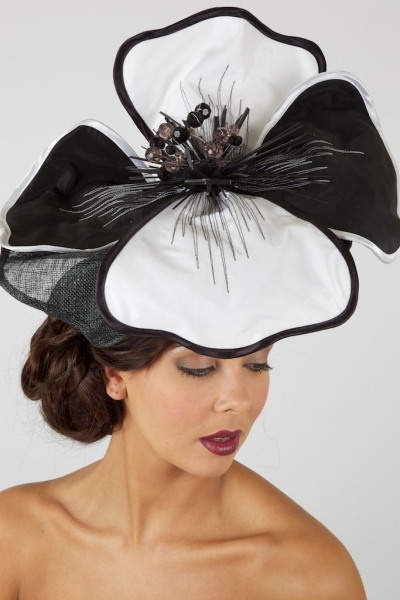 Black and White Rose- Wedding or Ascot Hat by Hats on Heads