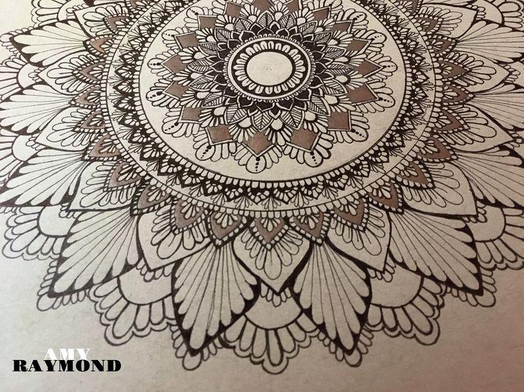 #mandala #sketch  by Amy Raymond 3/5/17.  #pigma #bw #doodle #inkart #mixedmedia #art #artismytherapist #zen #draw  #tangle #copic #micron #silver #gellyroll #gray_paper #sketchbook #progress_shot