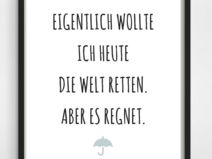 "Poster-Typo Print ""Welt retten"""