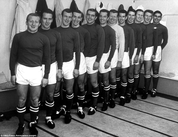 Celtic players line up in the dressing room before a match in 1966. From left to right: Jimmy Johnstone, Willie Wallace, Bobby Lennox, Jim Brogan, Bobby Murdoch, Steve Chalmers, John Fallon, Tommy Callaghan, Jim Craig, Billy McNeill, Tommy Gemmell, John Hughes. A year later, in 1967, Celtic's players beat Inter Milan to win the European Cup and were immortalised as the 'Lisbon Lions'