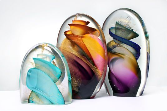 Phil Vickery Glass - Vortex Pods (gold) 35cm /25cm /10cm free blown Art-Glass, gold, ground & polished ♥≻★≺♥