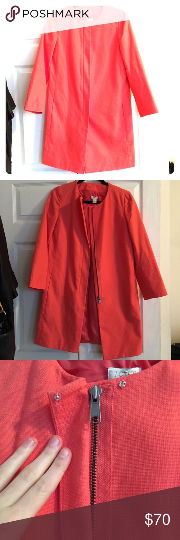 J Crew Coat J Crew collarless coat. Size 00. Originally $178. Perfect coat for the Spring! Only worn 2 times. J. Crew Jackets & Coats Trench Coats