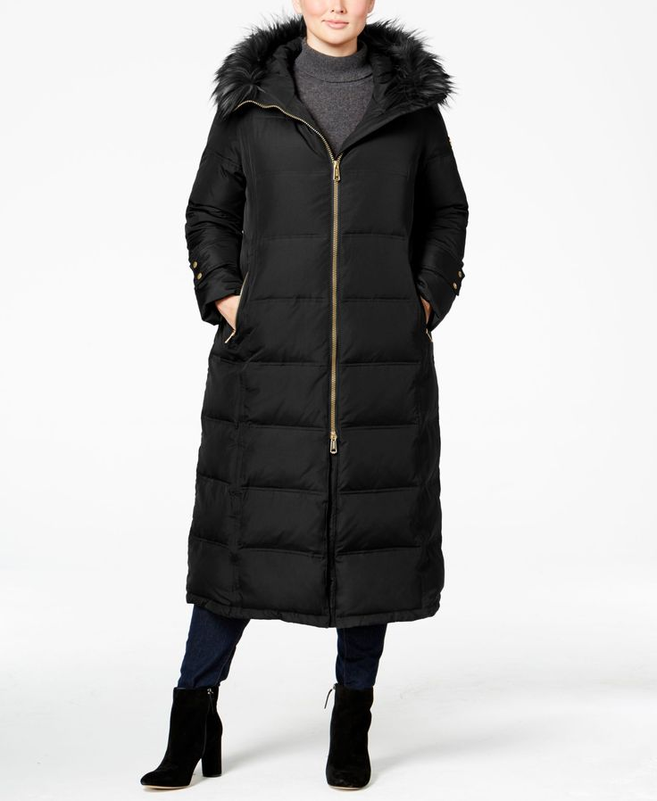 Calvin Klein Plus Size Faux-Fur-Trim Maxi Puffer Coat