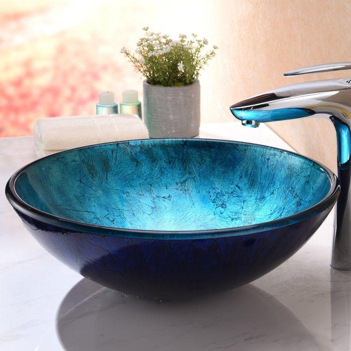 Arc Blue Tempered Glass Circular Vessel Bathroom Sink Glass