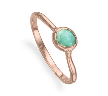 Perfect for stacking, this delicate ring features an organic, irregular shaped multifaceted amazonite gemstone, set in 18ct Rose Gold Plated Vermeil on Sterling Silver. The band has a slightly waved edge, reminiscent of the sea. The stone on this ring measures approximately 6mm x 4mm (0.2 x 0.15
