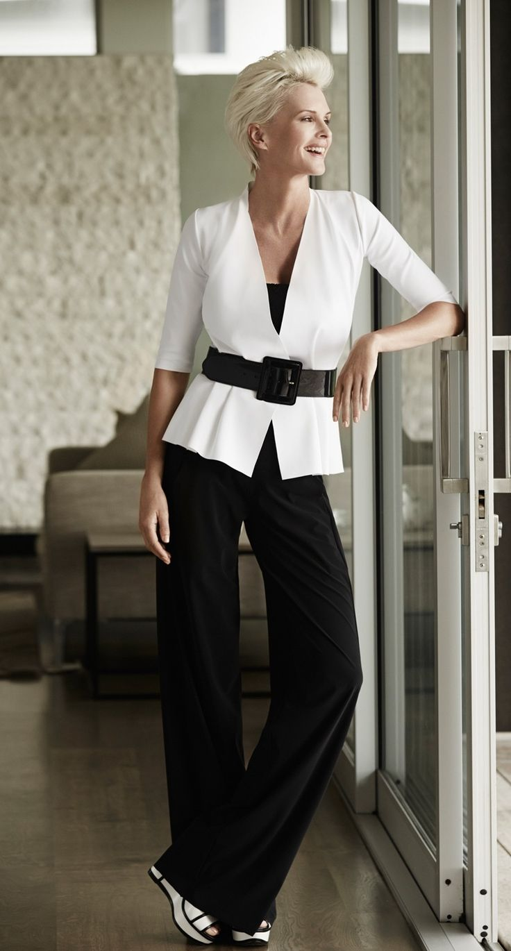 Paula Ryan Pleat Peplum Jacket.  Simple and sophisticated, the Pleat Peplum Jacket in Bonded Microjersey worn with Short Shirred Tube Top, Basque Pant and Patent Leather Belt is the perfect mini-capsule collection of corporate pieces.