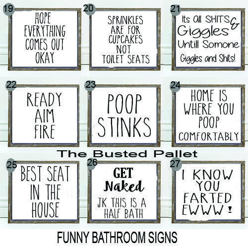 9 95 6x6 Bathroom Sign Funny Bathroom Signs Bathroom Wall