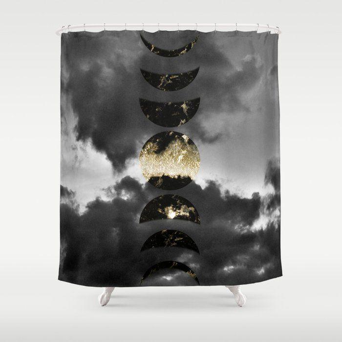 Mystical Moon Phases 1 Gold Black Decor Art Society6 Shower Curtain By Anitabellajantz Society6