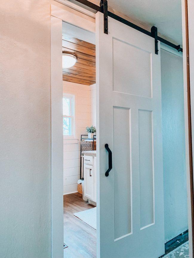 A New Sliding Barn Door For Our Bathroom Bathroom Layout Bathroom Barn Door Bathrooms Remodel
