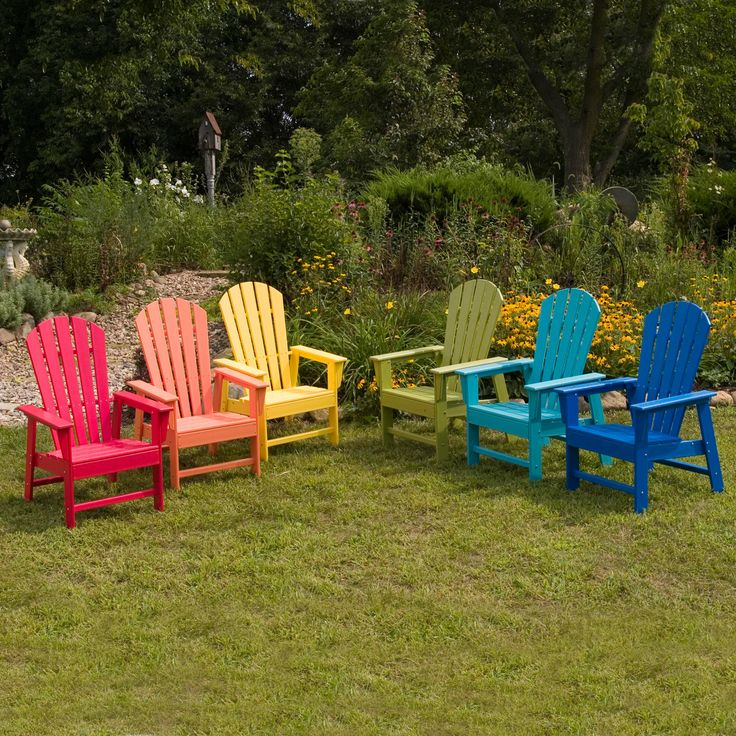 POLYWOOD® South Beach Recycled Plastic Adirondack Chair - Look at the burst of color and fun these chairs bring to your lawn! You'll smile all summer ... The South Beach Adirondack Chair is part of a coll...
