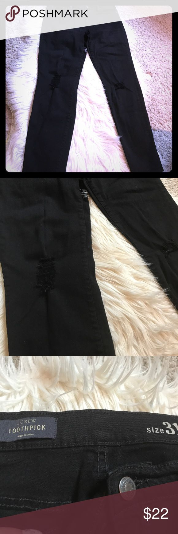 "J Crew toothpick black jeans J crew skinny jeans with ""destructed"" fraying at knee area.  Worn once. Perfect condition. Can be worn as a legging look! Super soft and stretchy. J Crew Jeans Skinny"
