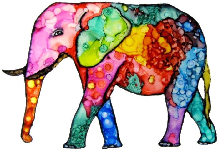Whimsical elephant done with alcohol ink and a Sharpie and now available on note cards. Completed 2-19-15.  http://www.kathleensartcreations.com/apps/webstore/products/show/6046371