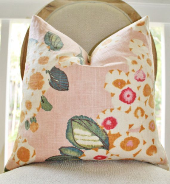 Decorative Pink Pillow - Floral Pink Fuchsia IvoryTeal Orange Pillow Cover - Designer Throw Pillow - Blush Pink Pillow- Pale Pink on Etsy, $36.00