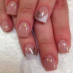 Gel backfill LED polish manicure with chevron French white and gold feats with citrine crystals and glitz sprinkles Gel-Nails-Polish-LED-Polish-LED-Nails-Acrylic-Nails-Nail-Art