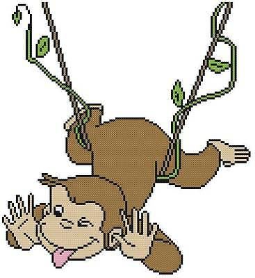 Cross-Stitch-PATTERN-COLOR-Curious-George-Monkey-Swing-Vine-Tongue-Cartoon-Books