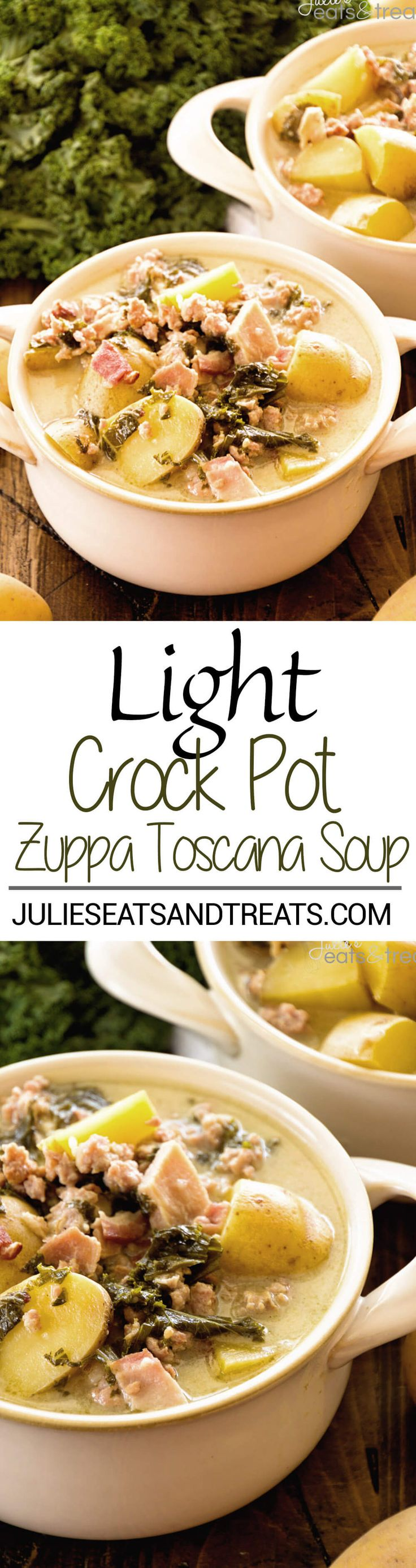 Light Crock Pot Zuppa Toscana Recipe ~ A Delicious Copy Cat Recipe of Olive Garden's Zuppa Toscana But Even Better Because It's Slow Cooked in Your Crock Pot and Lightened Up! Perfect Comfort Food Dinner! ~ http://www.julieseatsandtreats.com