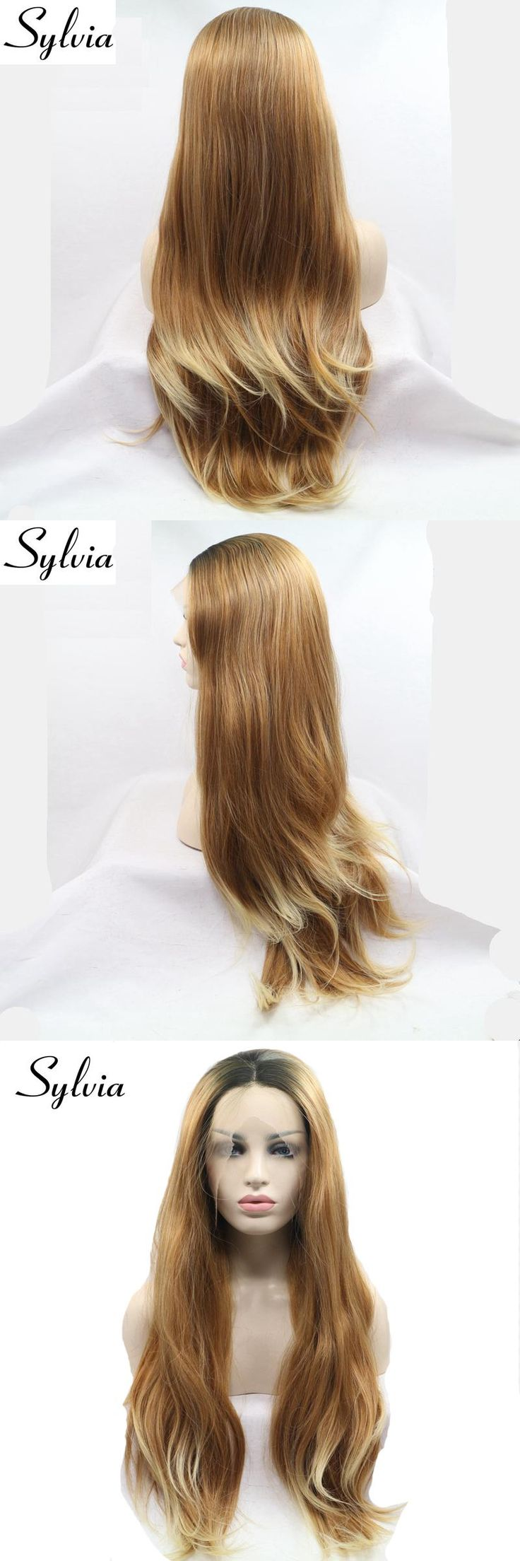 sylvia mixed brown straight synthetic lace front wigs with dark roots blonde tips natural look brown ombre heat resistant fiber