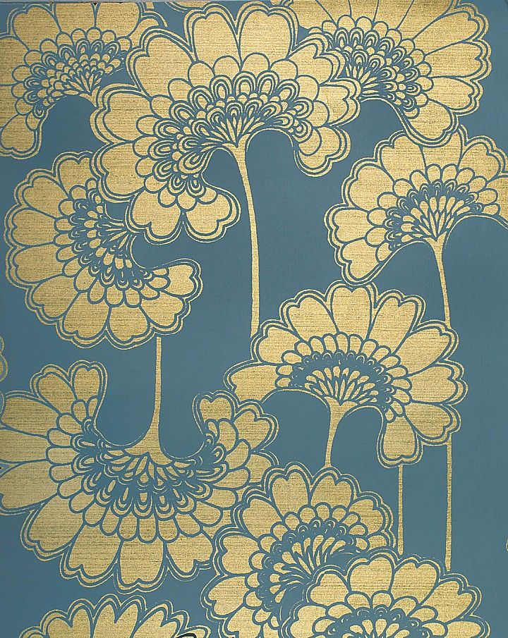 Florence Broadhurst- Love the Oriental influenced floral print, using the opulence of gold as a contrast.