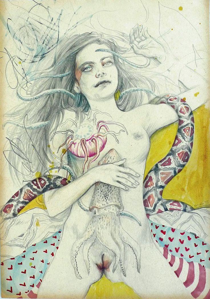 Agata Endo Nowicka -Sen / A dream, 2015 / 1 Aukcja Sztuki Erotycznej. Katalog i szczegóły: http://bit.ly/1ASE_katalog.  Wystawa do 29.07. Aukcja: 29.07 19:00 #eroticart