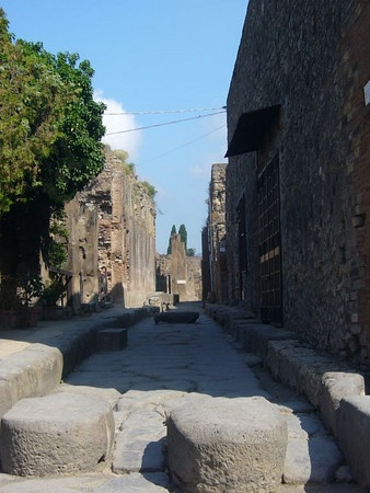 Pompeii, Italy  The street of a partially buried down near Naples