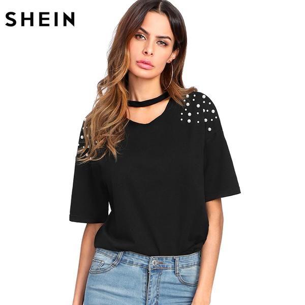 4f8c54dd6cc23c Pearl Beaded Choker Neck Tee Casual Women T shirt 2018 Summer Elegant Tops  Black Short Sleeve V Neck Cut Out Tee Shirt