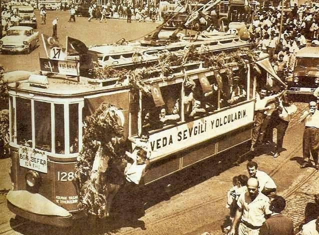 Tranvaya veda....Son sefer...1961…. farewell to the tram! last ride in the european part of the city. istanbul, 1961.