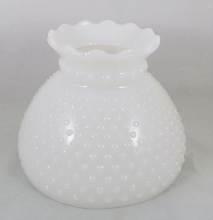 "Milk Glass Hobnail Lampshade 8"" Fitter, Vintage Student Style Glass Lamp Shade, Replacement Glass Hobnail Shade by ShellyisVintage on Etsy"
