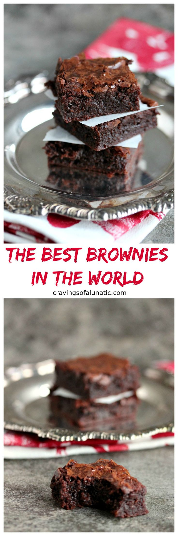 The Best Brownies in the World are ooey, gooey, fudgy brownies that will become a family favourite. I rarely make any other brownie recipe because we love this one so much!