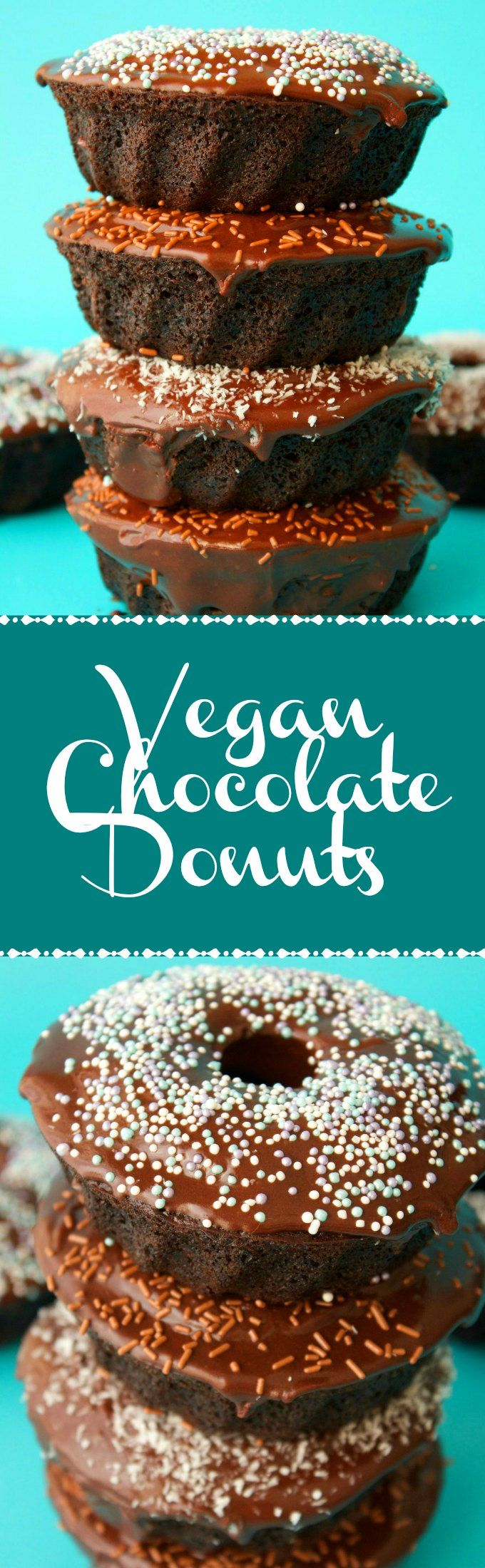 Chocolate cake style vegan chocolate donuts. These moist and delicious baked vegan donuts are super quick and easy and topped with a chocolate glaze. Vegan | Vegan Desserts | Vegan Donuts | Vegan Recipes | Vegan Food | lovingitvegan.com