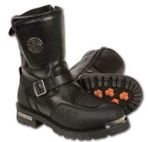 Milwaukee Single Side Zipper Cross Strap Mens Motorcycle Riding Boots are made for safety and comfort in a solid black color being made of genuine black full grain premium leather having a single side zipper entry for easy on / off and adjustable cross over stapf for added comfort and security with a padded upper body and Milwaukee hardware for the most stylish look.