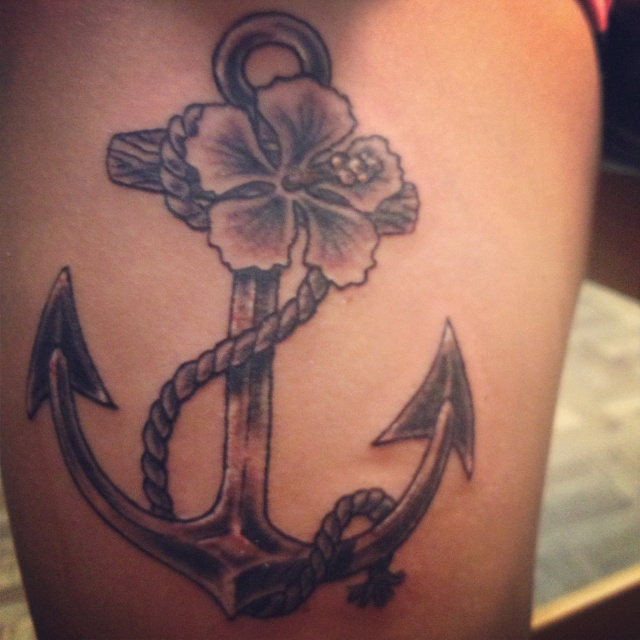 Anchor tattoo ❤ with my fav flower!!!!
