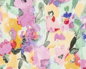 Designer-Leinenstoff aus Italien MAXIMAR, Blumen-Aquarell, rosa-pastellgelb