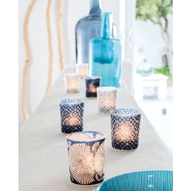 3 photophores verre habillage papier de riz 7cm bleu BOUGIES LA FRANÇAISE