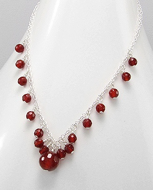 Handmade Silver Necklace, Beaded with Amethyst / Garnet / Aventurine / Onyx or Red Agate