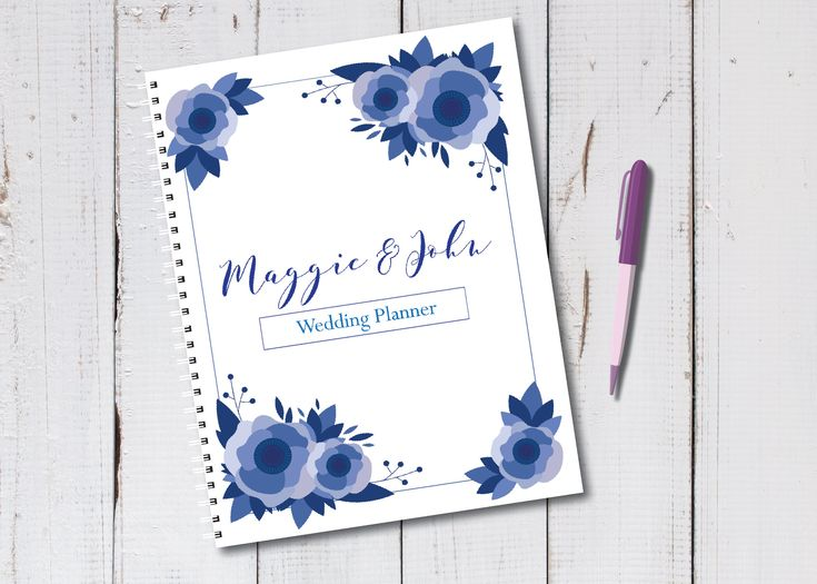 Wedding Planning Notebook Personalized - Blue floral - Engagement Gift - Bride - Plans - Planner - Soon to be Mrs. - Bridal - Engaged by MrsDDesign on Etsy