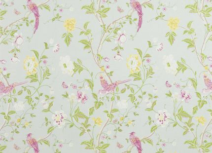 Summer Palace Cotton/Linen Fabric Duck Egg at LAURA ASHLEY
