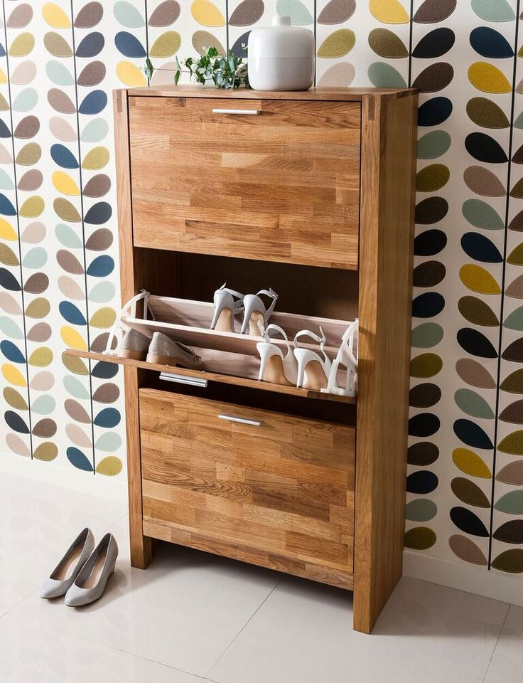 Noa And Nani Vermont Solid Oak Shoe Storage Cabinet