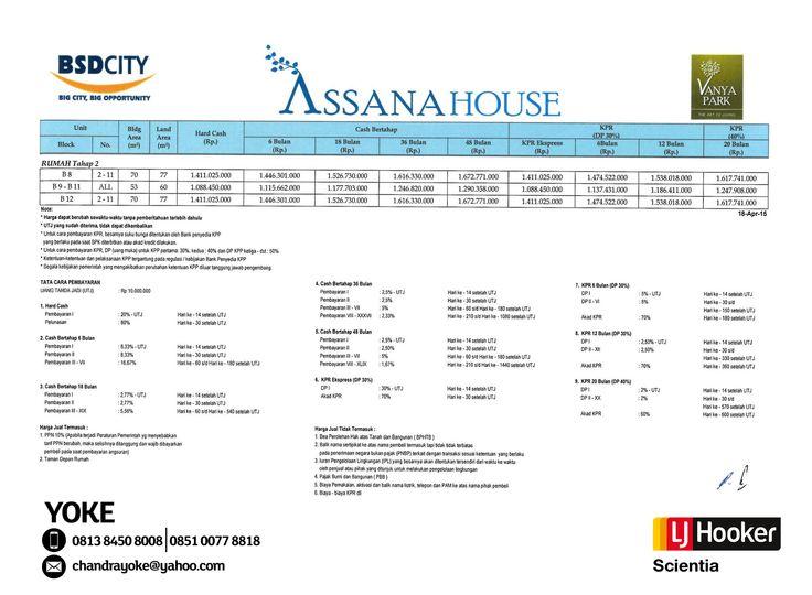 PRICE LIST Phase 2 - Assana House - 2nd Cluster @ Vanya Park, BSD City