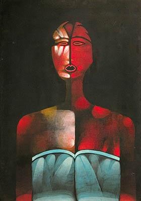 """Jerzy Nowosielski, CZARNA PŁYWACZKA / BLACK SWIMMER, cykl """"czarne akty"""", series """"black acts"""", oil on canvas, 100x70, sygn. """"Jerzy Nowosielski Pologne"""""""