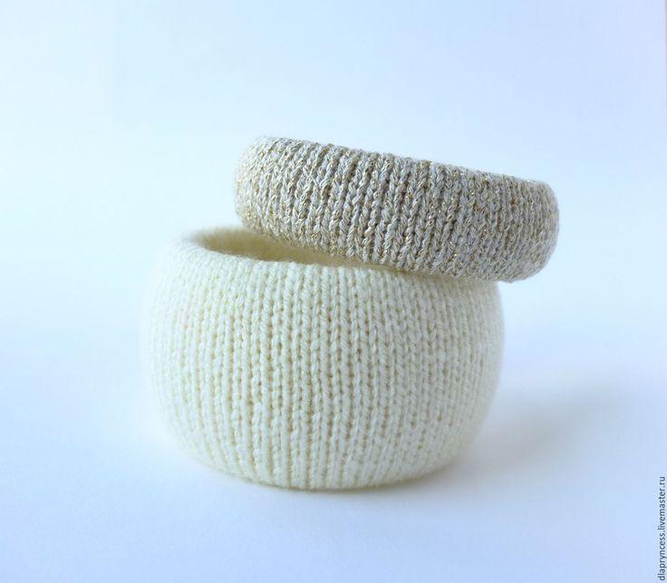 """Купить """"Молоко и мёд"""" браслеты вязаные - текстильный браслет, фактурный браслет, Вязаный браслет, браслеты"""