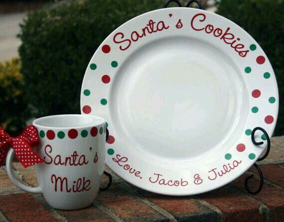 Personalized Santa cup & plate $20!