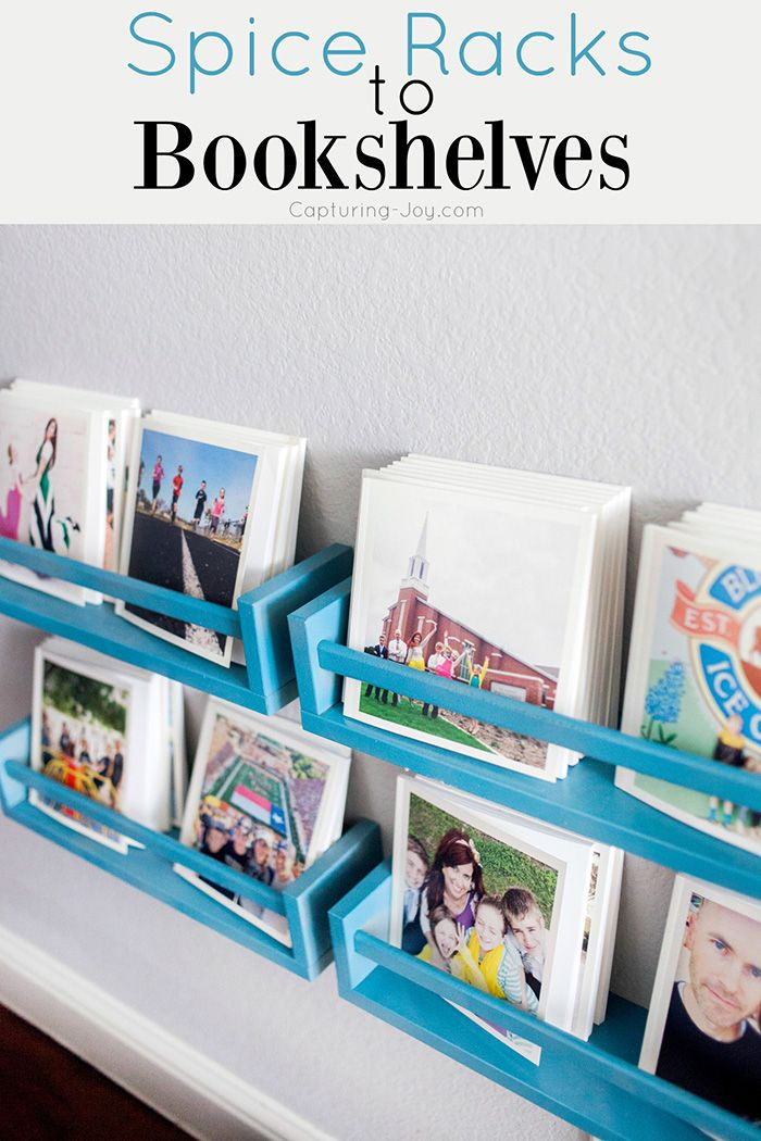 Check out how I turned these Ikea Spice Racks into DIY Bookshelves for over 100 chat books!  Capturing-Joy.com