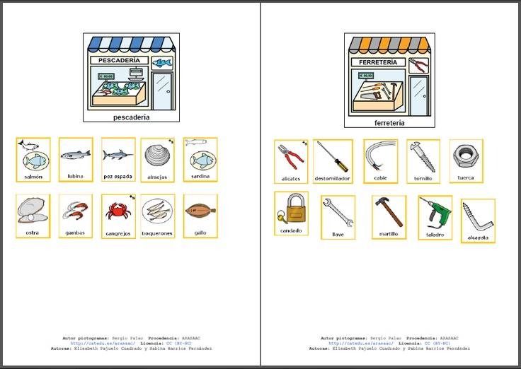 MATERIALES - Las tiendas y sus productos. Material para trabajar la categoría semántica tiendas. http://arasaac.org/materiales.php?id_material=796