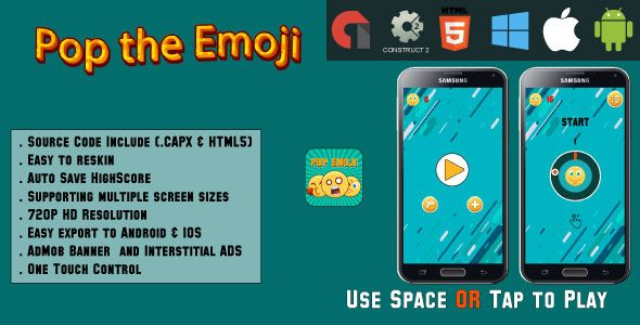 Pop the Emoji - HTML5 Game - Android & IOS + AdMob (CAPX)