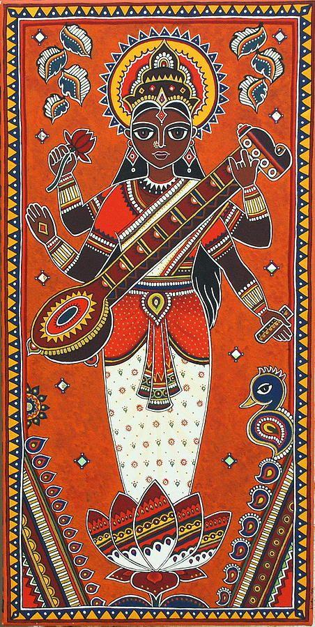 Love the vibrant colours in this painting of Goddess Saraswathi by Bindu Vishwanathan