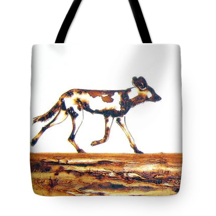 """Endangered African Wild Dog Tote Bag 18"""" x 18"""" by Tracey Armstrong"""