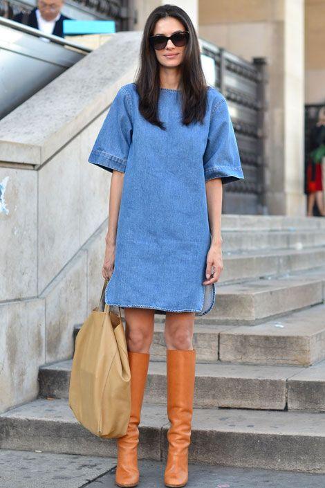 Stella McCartney dress, Céline bag, and Chloé boots.