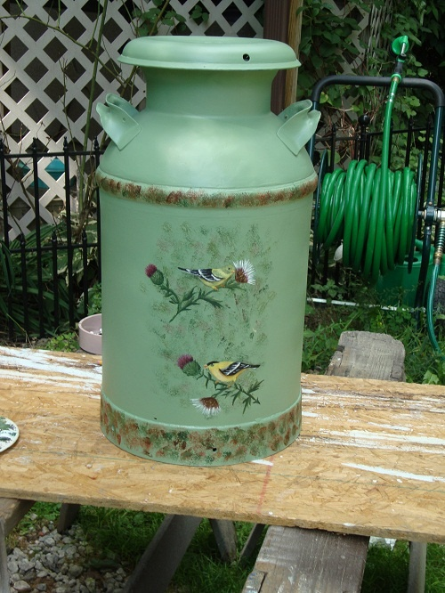 Hand painted milk can -   By Jacque Lipton